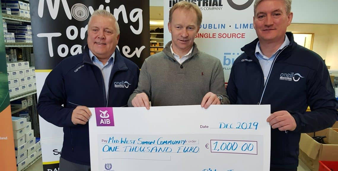 O'Neill Industrial Mid West Simon Community donation